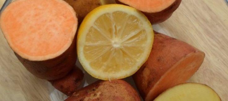 Stamppot uit de magnetron met zoete aardappelen, feta, aardappel, citroen, koriander en rode peper