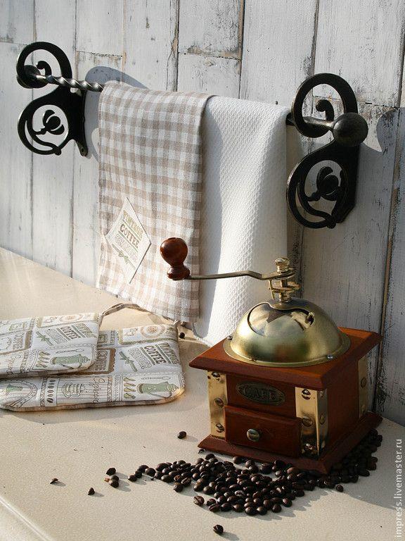 Купить Вешалка для полотенец Модерн с одной штангой - чёрно-белый, вешалка, прованс, Вешалка для полотенец
