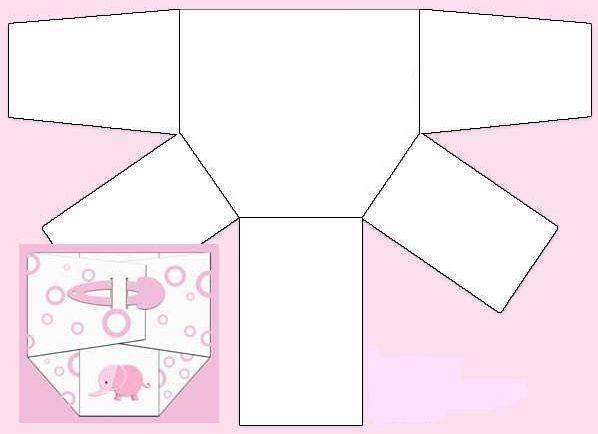 Molde pañal para invitación Baby Shower | Manualidades para Baby Shower