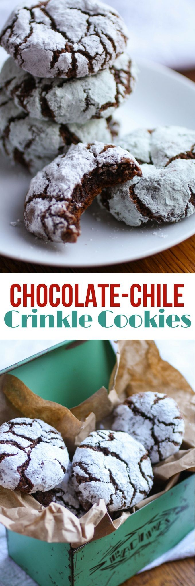 Chocolate-Chili Crinkle Cookies are delightful cookies to serve anytime! You'll love how rich and chocolaty these cookies are!
