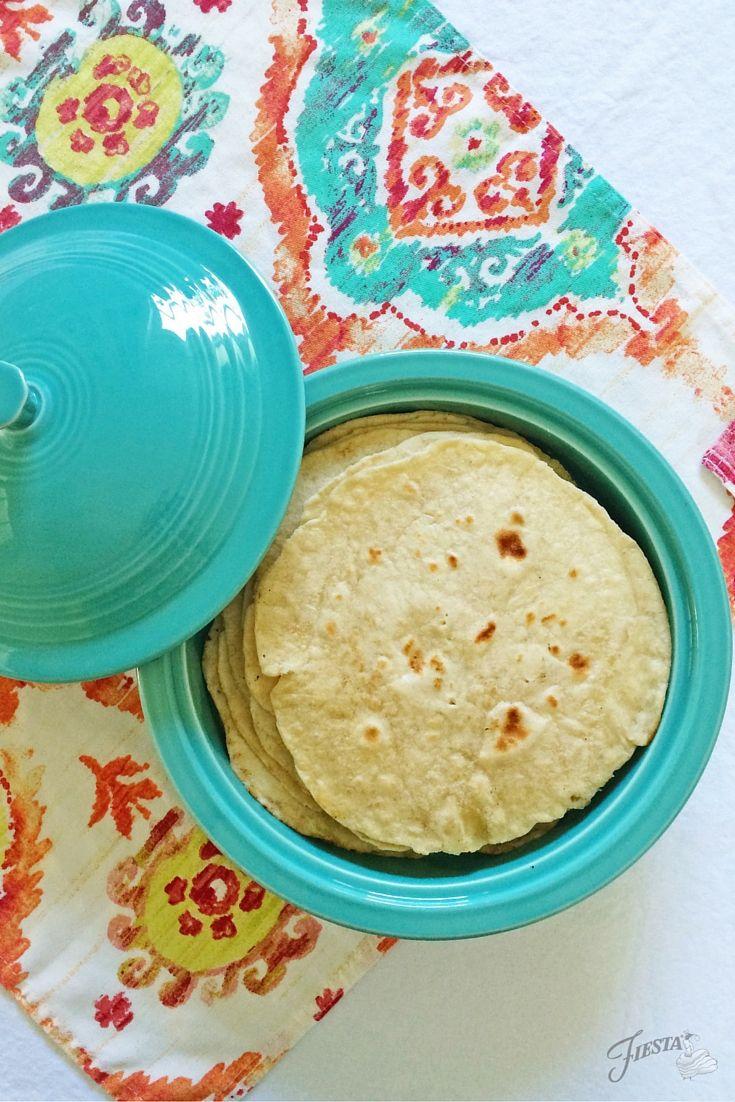 A Tortilla Fiesta for Cinco de Mayo using Turquoise Fiesta® Tortilla Warmer | Fiesta Dinnerware, Always Festive