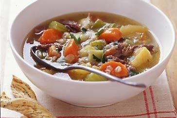 The delicate flavour of this lamb broth is full of hearty vegetable goodness.