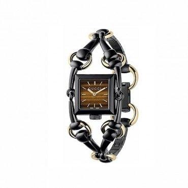 Γυναικείο ρολόι GUCCI της σειράς Signoria με μπρασελέ από μαύρο PVD & χρυσό Κ18| Ρολόγια GUCCI στο e-shop & στο κατάστημά μας στο Χαλάνδρι #Gucci  #χρυσο #κ18 #μπρασελε #ρολοι