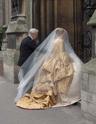 Gold corsetted wedding gown (used with permission of Harman Hay) by Rachel Thomas