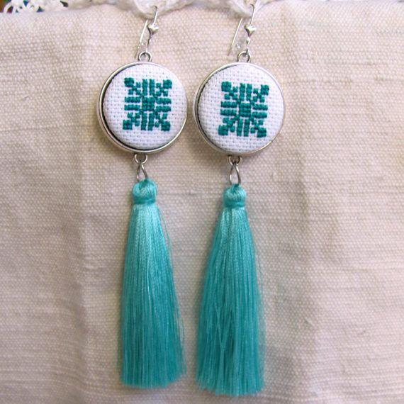 Turquoise earrings Tassel earrings Bohemian by NeedleSChoice