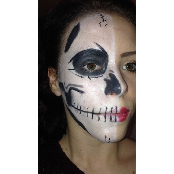 1st attempt of a half skeleton half human look #halloween #skeleton #human
