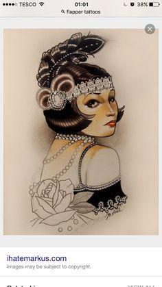 flapper girl tattoo - Google Search