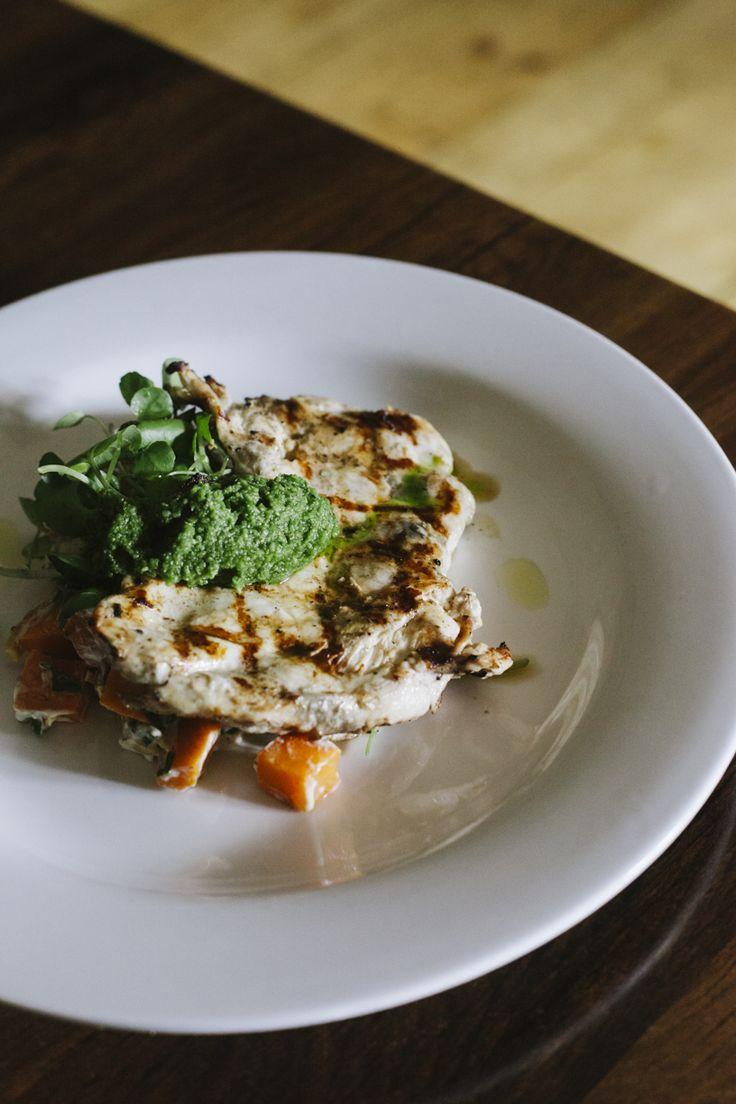 Buttermilk chicken breast, sweet potato & almond salad with quinoa salsa verde (gf)