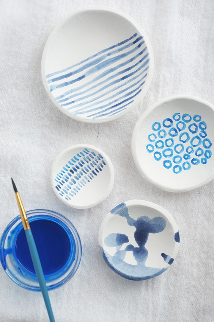 DIY Hand-Painted Indigo Clay Bowls