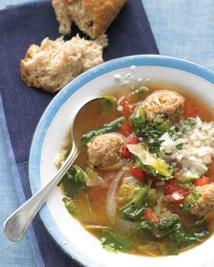 Light Italian Wedding Soup---This is the best and easiest soup, I LOVE IT!  Literally it takes no time to make. I substitute kale for the escarole and I use original Ezekiel Cereal for the bread crumbs (works perfect and is way healthier).  I also use organic ground turkey and organic chicken broth.  If you shop at Costco, they have some awesome organic chicken stock.  If you don't like tomatoes, you can leave them out and you will have a yummy buttery soup base!  Try it, you'll love it too!