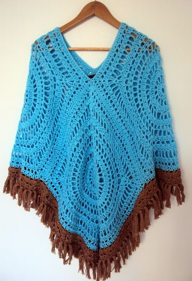 Poncho croche - linha