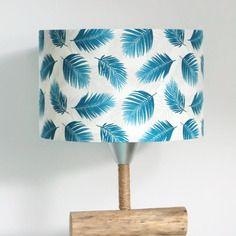 Abat-jour cylindrique - rond - cylindre - feuilles bleues palmier exotique tropical  28cm