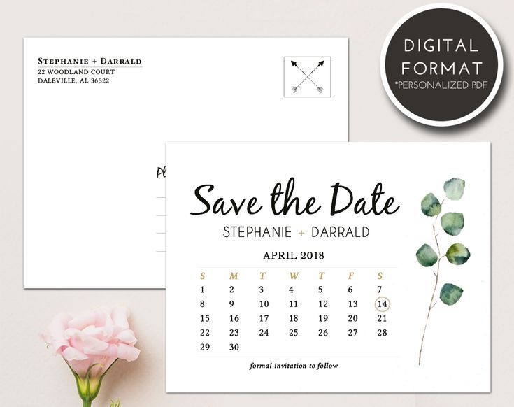 rustic eucalyptus greenery save the date template download wedding
