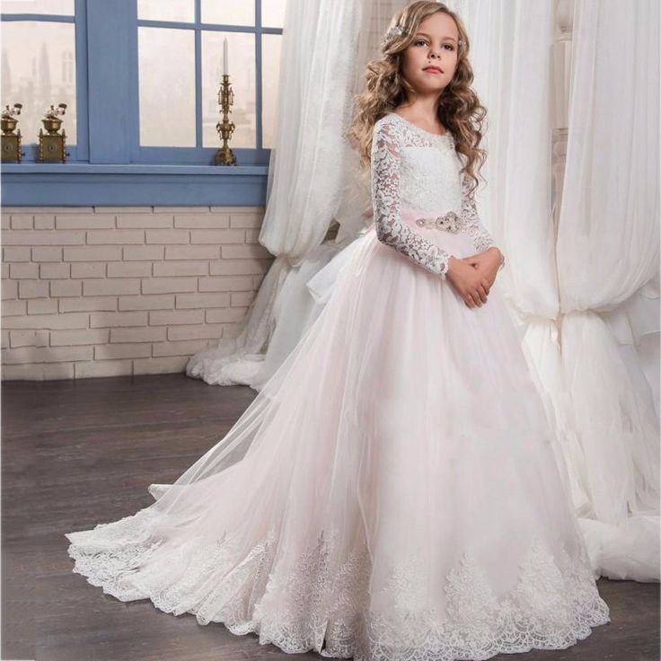 elegant tulle first communion dress for girls lace long sleeve