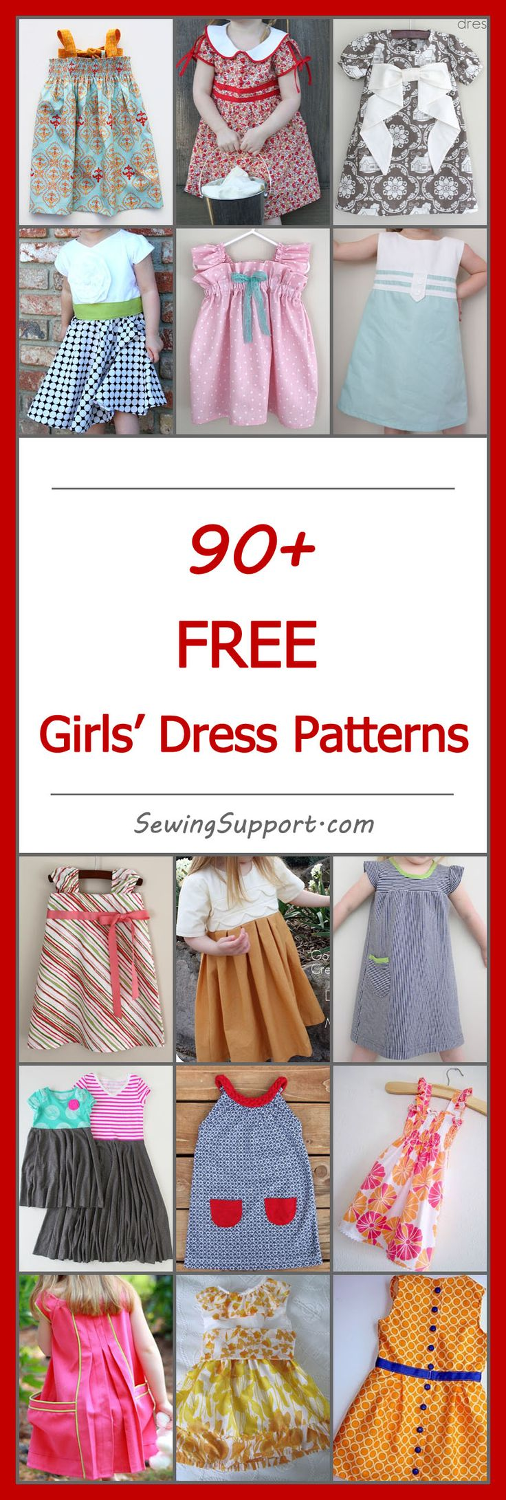 Lots of free dress patterns for girls.