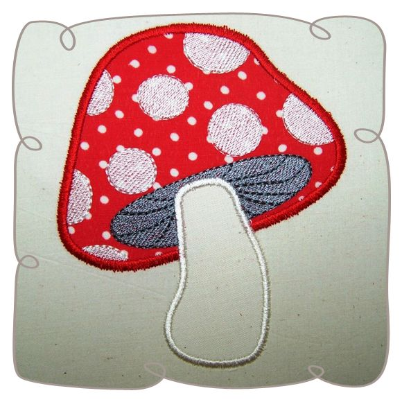 Applique Mushroom Critter Machine Embroidery Design