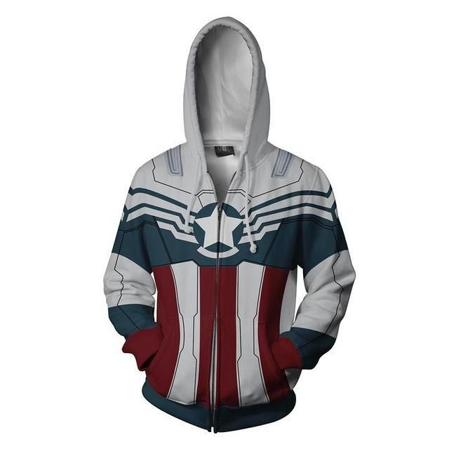 Movie Captain America Falcon 3D Hoodie Sweatshirts Hooded Jacket Coat Cosplay