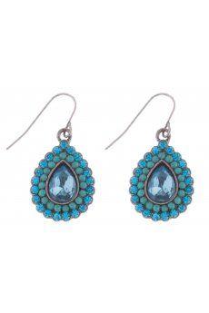 Tear Drop Crystal Bead Earrings