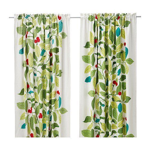 Ikea stockholm blad pair of curtains green for Forest green curtains drapes