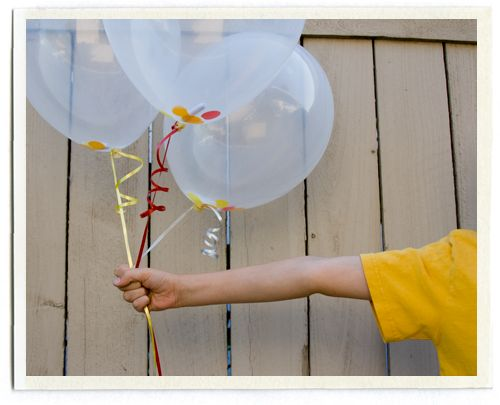 "cute idea! Invite is rolled up and tucked into the balloon then inflated.  Balloon has a tag that says, ""pop me!"""