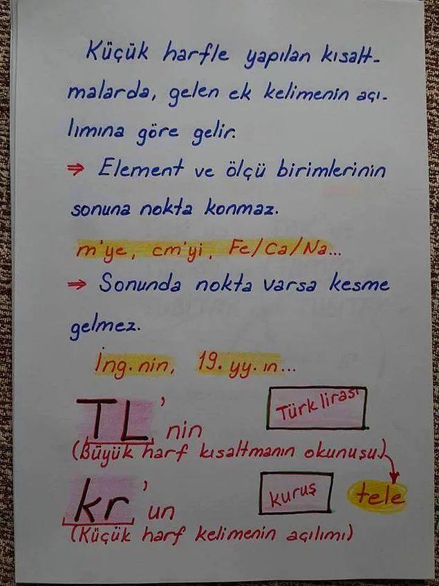 Küçük harfle yapılmış kısaltmalara gelen eklerin yazılışı