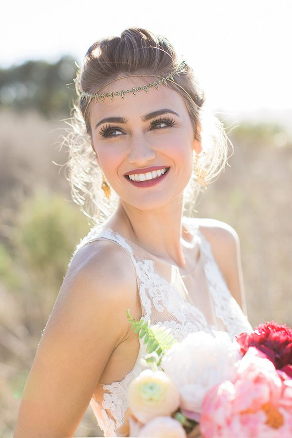 Chic Boho Bridal Headpiece in Gold | Carlie Statsky Photography | Luxe Bohemian Wedding in Jewel Tones