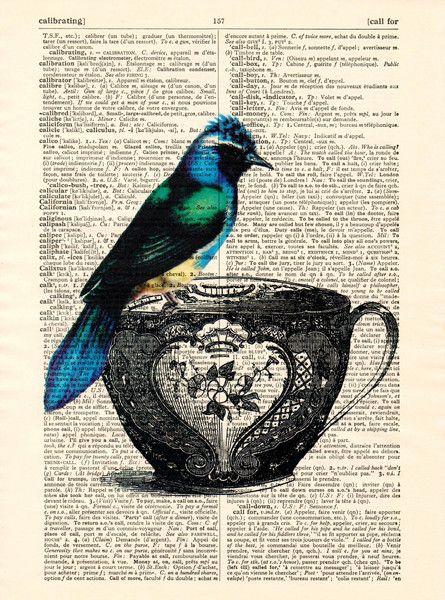 Mischtechniken - Paradiesvogel Art Mixed Media Print - ein Designerstück von…