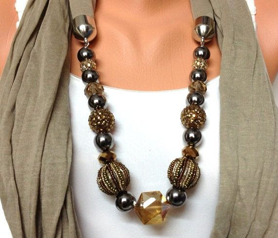 brown jewelry scarf with beautiful beads  unique by BienBijou, $25.00