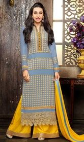 Karisma Kapoor Blue Color Shaded Georgette Palazzo Suit #bollywoodsuits2017 #bollwoodanarkalisuits Enlighten your day with this Karisma Kapoor blue color shaded georgette palazzo suit. The ethnic lace, patch, resham and stones work with a apparel adds a sign of magnificence statement for your look.  USD $ 73 (Around £ 50 & Euro 55)