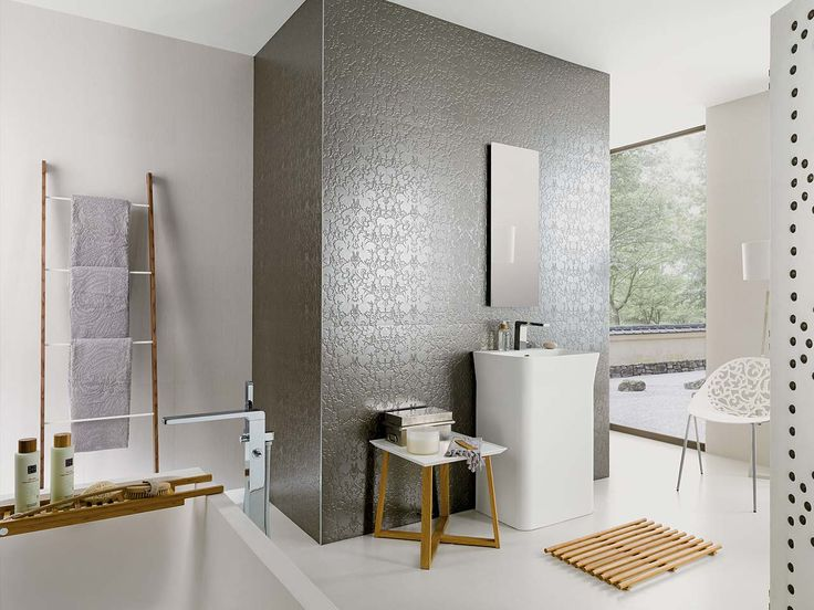 Venis bluebell silver textured metallic wallpaper look feature tile available to order in at - Porcelanosa bad ...