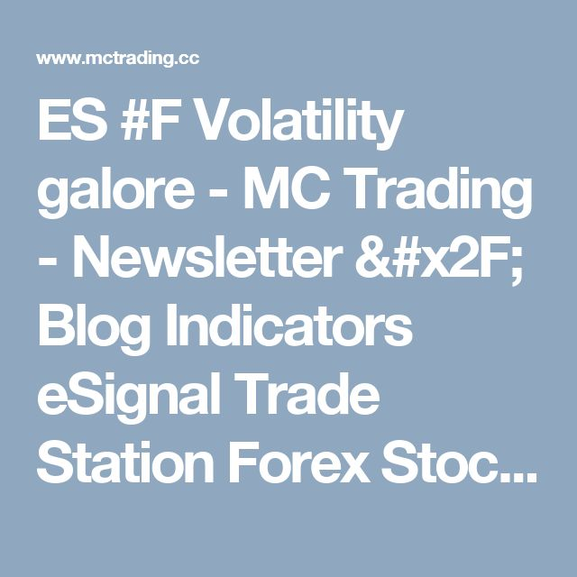 ES #F Volatility galore - MC Trading - Newsletter / Blog Indicators eSignal Trade Station Forex Stock Market Commodities Futures