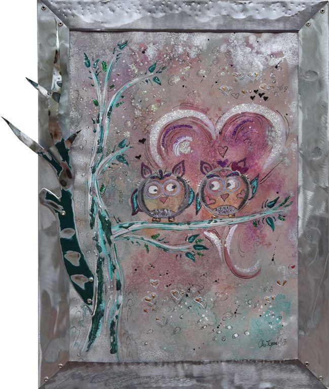 AMORE NOTTURNO  Alice Fagnocchi - 2015 - cm 42x57,5  Non c'è istinto pari a quello del cuore  George Byron cit. Bacio perugina a San Valentino  Cornice realizzata in zinco titanio RHEINZINK fuso, levigato, lucidato e in piombo lucidato e battuto.  Ramo realizzato in lamiera zincata e verniciata di colore verde.   Stefano Carloni