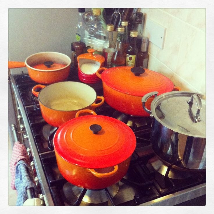 Our little family of volcanic orange le creuset pans - details and full review at countryfille.com