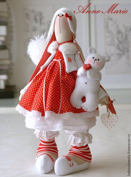 Игрушки животные, ручной работы. Зайка текстильная Anne-Marie  с медвежонком 39 cм. Лада Садомская. Интернет-магазин Ярмарка Мастеров.