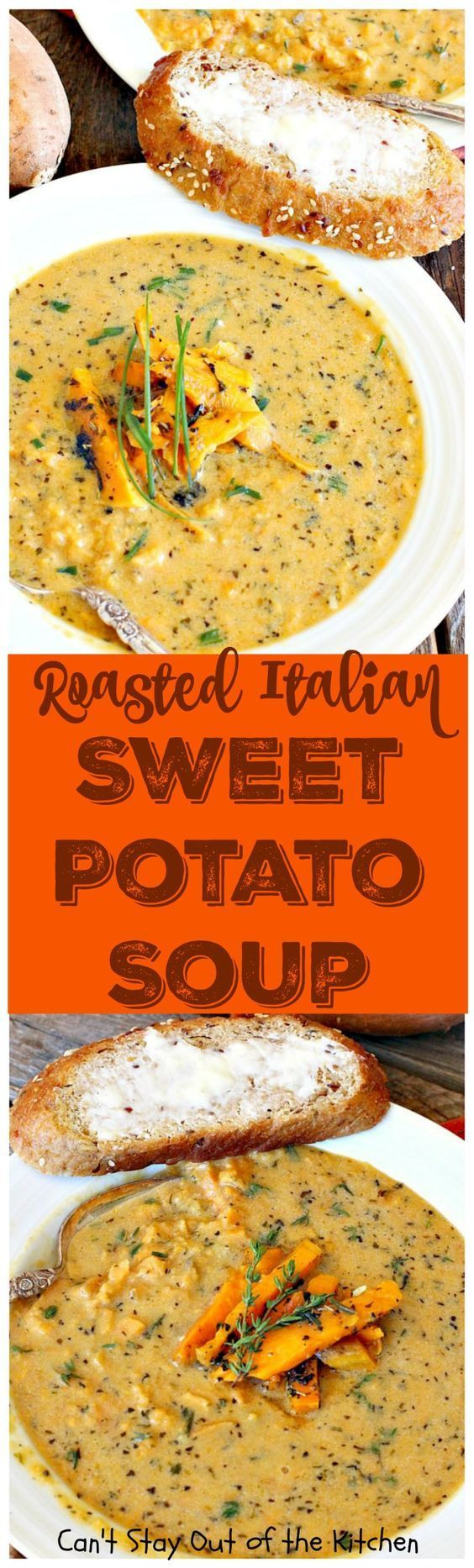 Roasted Italian Sweet Potato Soup | Can't Stay Out of the Kitchen | this #soup is amazing comfort food. Roasting the #sweetpotatoes adds incredible flavor. Plus, the soup is healthy, low calorie, #glutenfree