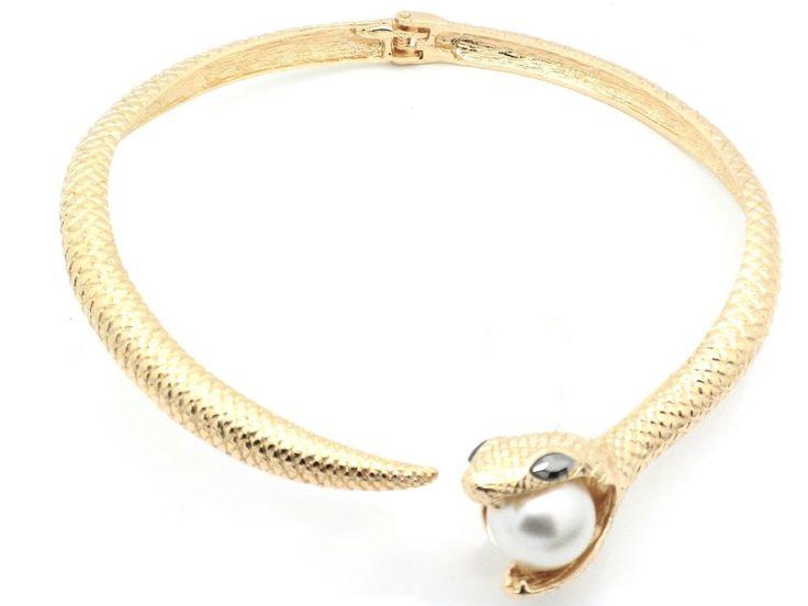 New Snake Pearl In Mouth Women Choker Austrian Crystal Necklace Earrings Gold P #Unbranded #Choker