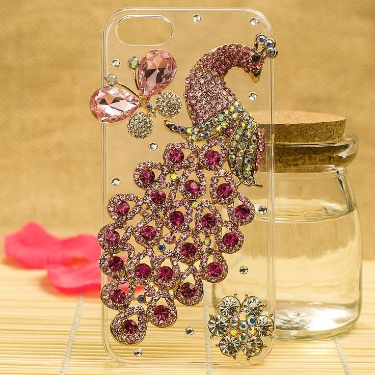 HOT Gorgeous 3D Swarovski Crystal Peacock Case Cover for iPhone 5 - Color 02
