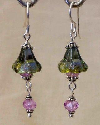 bellisimo earring design with czech glass bellflower beads from bead inspirations vintaj brass - Earring Design Ideas