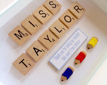 Teacher's Gift | Personalised Scrabble Style Art | Thank you present for teacher | Name Sign for Teacher's Desk