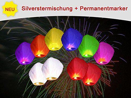 Lot de 10 Lanternes volantes chinoise multicolores + 1 MARQUEUR pour écrire vos voeux PROMOTION SPECIAL porte bonheur pour fête fin d'année…