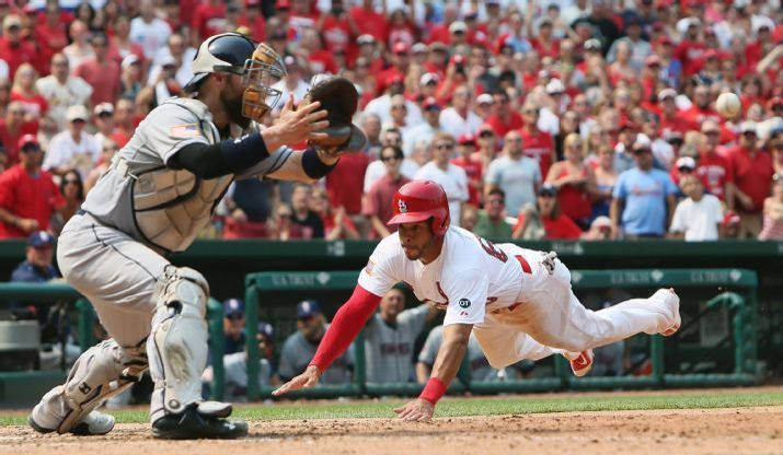 St. Louis Cardinals Team Photos - ESPN St. Louis Cardinals' Tommy Pham scores on a sacrifice fly by Jhonny Peralta as San Diego Padres catcher Derek Norris waits for the throw in the eighth inning of a baseball game Saturday, July 4, 2015, in St. Louis. The Cardinals won 2-1. (Chris Lee/St. Louis Post-Dispatch via AP)