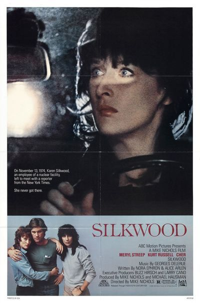 Silkwood is a 1983 American drama film directed by Mike Nichols. The screenplay by Nora Ephron and Alice Arlen was inspired by the true-life story of Karen Silkwood, who died in a suspicious car accident while investigating alleged wrongdoing at the Kerr-McGee plutonium plant where she worked. CAST: Meryl Streep as Karen Silkwood  Kurt Russell as Drew Stephens  Cher as Dolly Pelliker  Craig T. Nelson as Winston  Fred Ward as Morgan  Diana Scarwid as Angela
