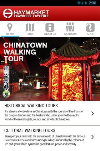 Haymarket Chamber of Commerce with its aim to promote the ChinaTown Walking Tours in Sydney had come up with this new and fantastic application for tourists use.<p>HCC app is Australia's first ever iPhone application featuring the cultural and historical walking tours in Sydney's ChinaTown. Visiting Sydney's ChinaTown will now be more informative since tourists will make use of this newly developed application. This was built to provide information to tourists and interested individuals who…