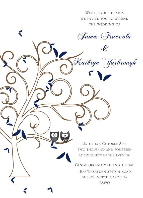 Fall Owl Wedding Invitation by PaperGoodiez on Etsy