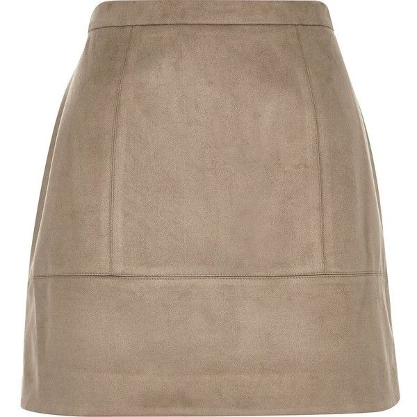 River Island Light brown faux-suede A-line skirt (235 EGP) ❤ liked on Polyvore featuring skirts, bottoms, brown, sale, women, knee length a line skirt, brown a line skirt, tall skirts, a line skirt and river island
