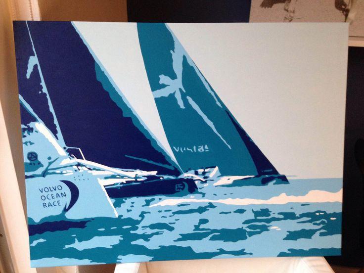 """Start of the Volvo Ocean Race"". Acryl op canvas, 80 x 60 cm."