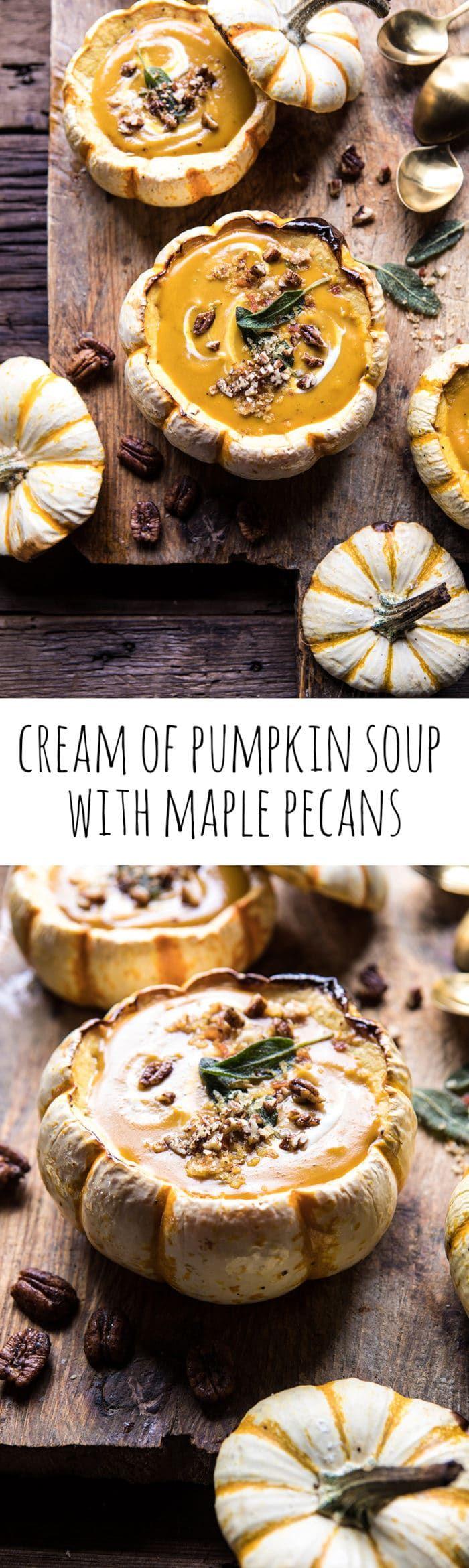 Cream of Pumpkin Soup with Maple Pecans | halfbakedharvest.com @hbharvest
