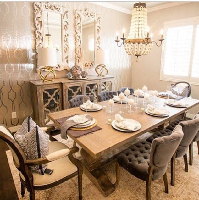 Glamour creams and gold dining room with rustic touches for Glam dining room ideas