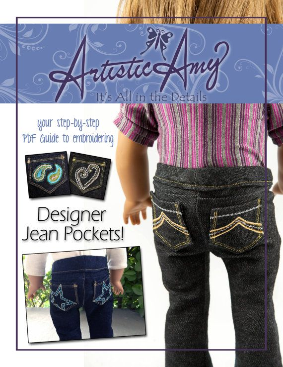 PDF Guide to embroidering Designer Jean Pockets for American Girl Doll Jeans. $8.99, via Etsy.