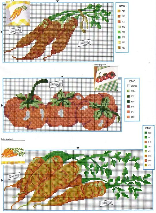 Cross stitch vegetables